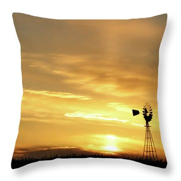Throw Pillow featuring the photograph Sunset And Windmill 13 by Rob Graham