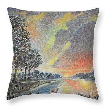 Sunset Angler Throw Pillow