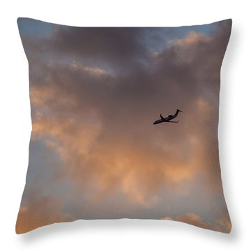 Sunset Approach  Throw Pillow by Ray Congrove