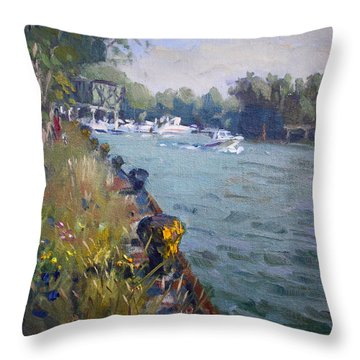 Sunset At An Abandoned Dock Throw Pillow