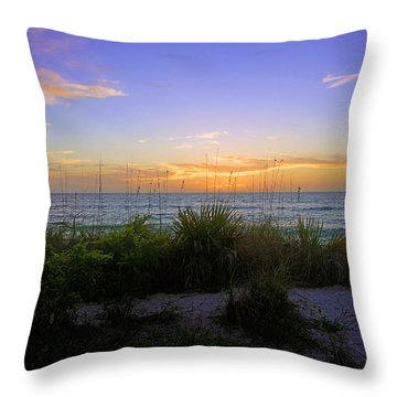 Sunset At Barefoot Beach Preserve In Naples, Fl Throw Pillow