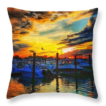 Sunset At Belmar Marina Throw Pillow
