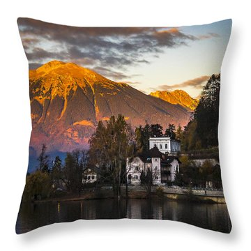 Sunset At Bled Throw Pillow