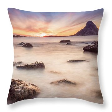 Sunset At Bleik Throw Pillow