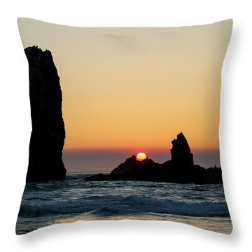 Sunset At Cannon Beach Throw Pillow by David Gn