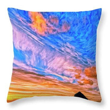 Sunset At Cannon Beach Throw Pillow