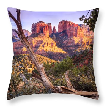 Sunset At Cathedral Rock Throw Pillow by Alexey Stiop