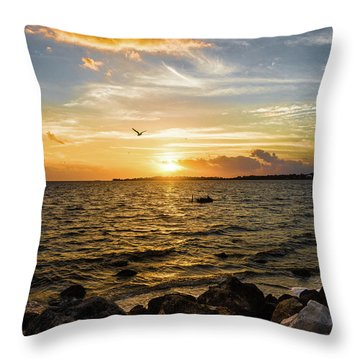Sunset At Cedar Key Throw Pillow by Rebecca Hiatt
