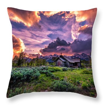 Sunset At Chapel Of Tranquility Throw Pillow