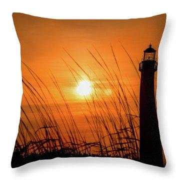 Sunset At Cm Lighthouse Throw Pillow