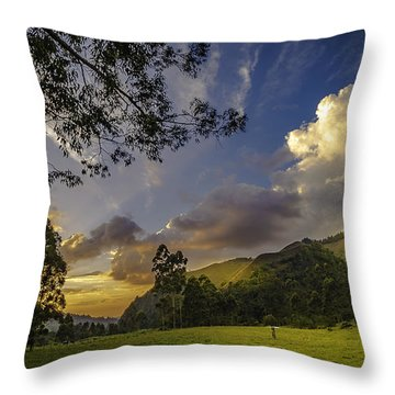 Sunset At Cocora Throw Pillow