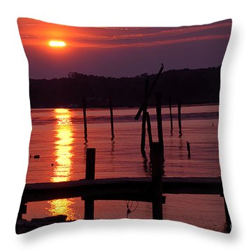 Sunset At Colonial Beach Throw Pillow by Clayton Bruster