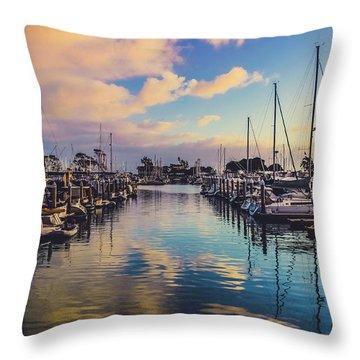 Sunset At Dana Point Harbor Throw Pillow