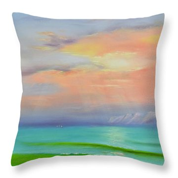 Throw Pillow featuring the painting Sunset At Dana Point  by Mary Scott