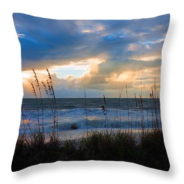 Sunset At Delnor Wiggins Pass State Park Throw Pillow