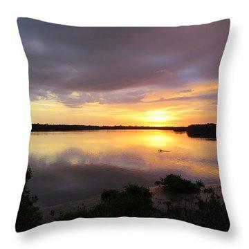 Sunset At Ding Darling Throw Pillow by Melinda Saminski