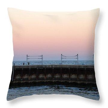 Sunset At Diversey Harbor Throw Pillow