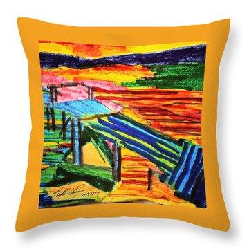 Sunset At Dock Throw Pillow