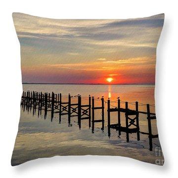 Sunset At Duck Obx Throw Pillow