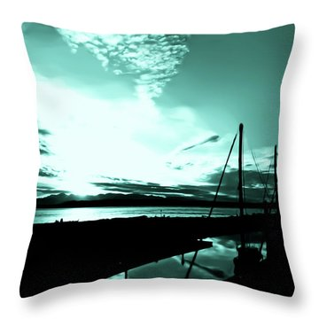 Sunset At Edmonds Washington Boat Marina 1 Throw Pillow by Eddie Eastwood