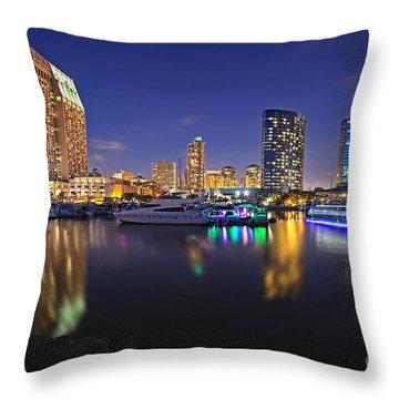 Sunset At Embarcadero Marina Park In San Diego Throw Pillow