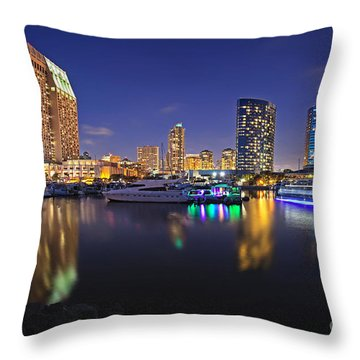 Sunset At Embarcadero Marina Park In San Diego Throw Pillow