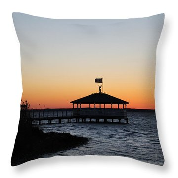 Sunset At Fagers Island Gazebo Throw Pillow