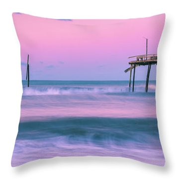 Throw Pillow featuring the photograph Sunset At Frisco Fishing Pier Panorama by Ranjay Mitra