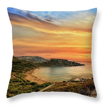 Sunset At Ghajn Tuffieha Throw Pillow by Stephan Grixti
