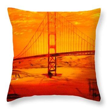 Sunset At Golden Gate Throw Pillow by Helmut Rottler