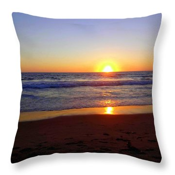 Sunset At Hermosa Throw Pillow