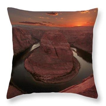 Sunset At Horseshoe Bend Throw Pillow