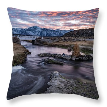 Sunset At Hot Creek Throw Pillow