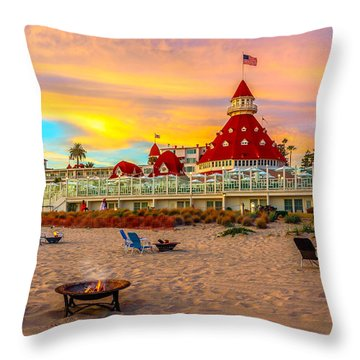 Sunset At Hotel Del Coronado Throw Pillow by James Udall