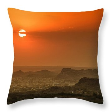 Throw Pillow featuring the photograph Sunset At Jodhpur by Yew Kwang