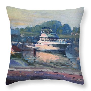 Sunset At Kellys And Jassons Boat Throw Pillow