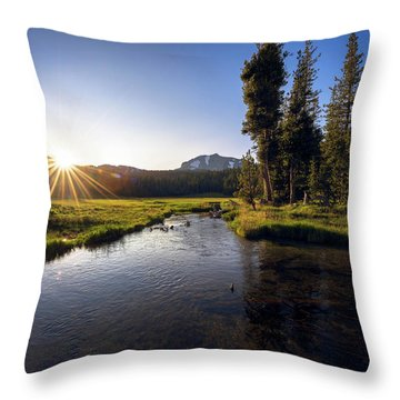 Sunset At Kings Creek In Lassen Volcanic National Throw Pillow