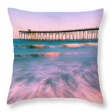 Throw Pillow featuring the photograph Sunset At Kure Beach Fishing Pier Panorama by Ranjay Mitra