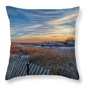Sunset At Lighthouse Beach In Chatham Massachusetts Throw Pillow