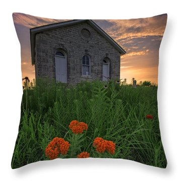 Sunset At Lower Fox Creek Schoolhouse Throw Pillow