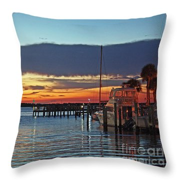 Sunset At Marina Plaza Dunedin Florida Throw Pillow