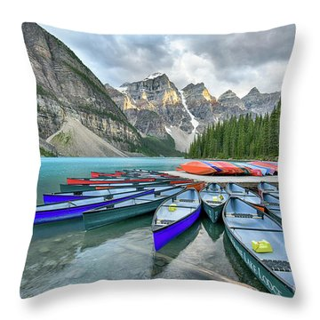 Sunset At Moraine Lake Throw Pillow
