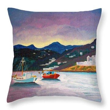 Sunset At Mykonos Throw Pillow