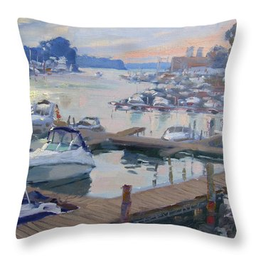 Sunset At North Tonawanda Harbor Throw Pillow