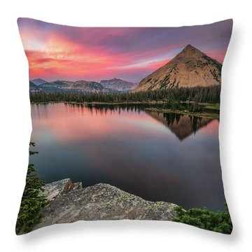 Sunset At Notch Lake Throw Pillow