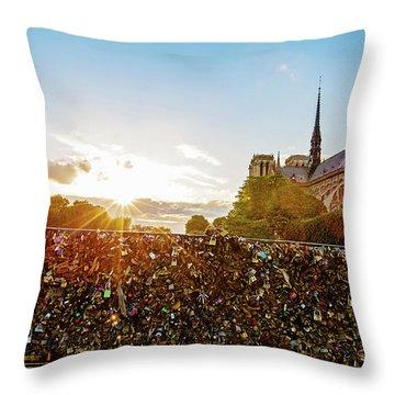 Sunset At Notre Dame De Paris Throw Pillow