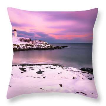Sunset At Nubble Lighthouse In Maine In Winter Snow Throw Pillow