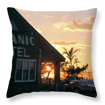 Sunset At Oceanic Motel Throw Pillow by Robert Banach