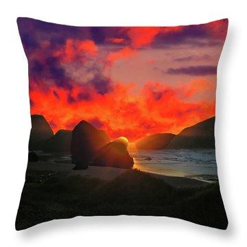 Sunset At Oregon Beach Throw Pillow