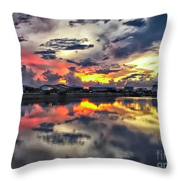 Sunset At Oyster Lake Throw Pillow